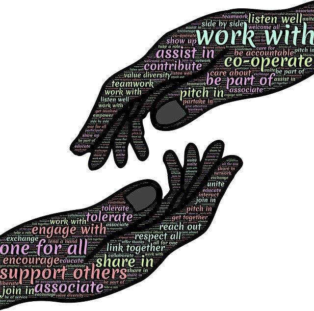 יד מושיטה יד לעזרה עם כתוביות של דברים כגון המילים עזרה לזולת וכדומה.